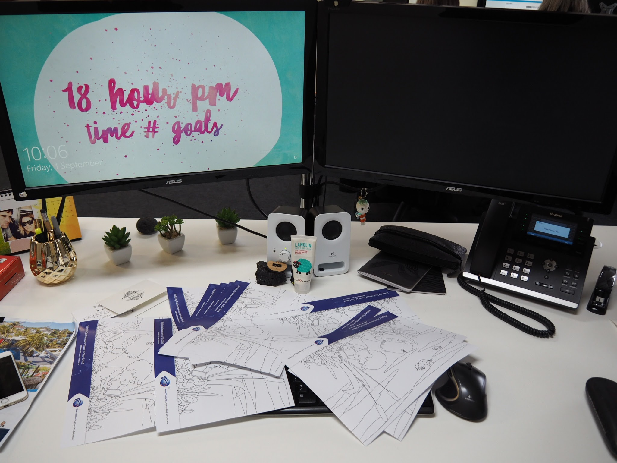 Desk with paper on it