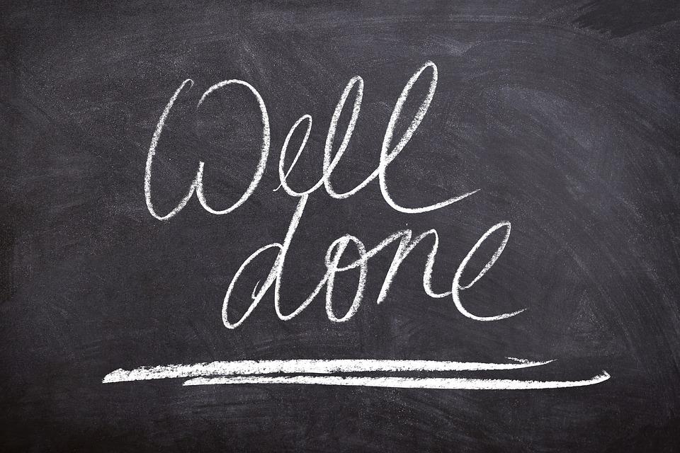 Blackboard saying Well done